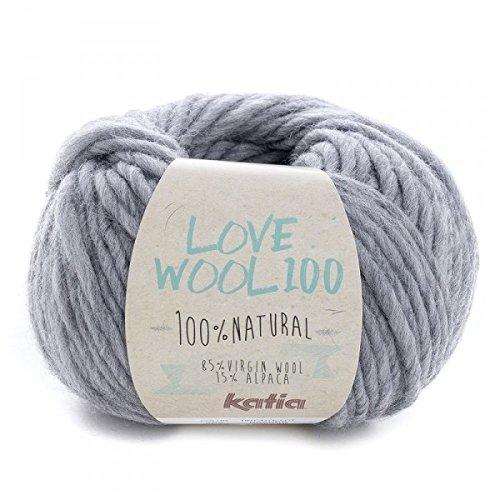 Katia love wool 100, colore grigio medio (205), lana con alpaca per lavoro a maglia e uncinetto per ferri di spessore 7 - 9 mm, 100 grammi circa 100 metri di lana alpaca