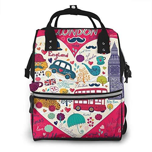 nbvncvbnbv London Bus Wickeltasche Wasserdichte Multifunktions-Reisemumienrucksack-Wickeltaschen für die Babypflege Große Kapazität Stilvoll und langlebig -