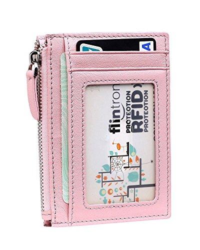 flintronic Portefeuille En Cuir, Etui RFID Blocage Porte Carte de Crédit, Zip Porte-monnaie, Coffret Cadeau