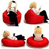 Sitzsack 2 in 1 Sitzbag Größe S-M-L-XL-XXL-XXXL-XXXXL mit Styropor Füllung - In & Outdoor - verschiedene Farben & Größen - Bean Bag Sitzkissen Bodenkissen Hocker Kinder Sitzsäcke Möbel Kissen Sessel Sofa (L = ca.100cm Rund Durchmesser, Rot)