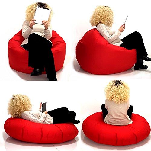 Sitzsack 2 in 1 Sitzbag Größe S-M-L-XL-XXL-XXXL-XXXXL mit Styropor Füllung - In & Outdoor - verschiedene Farben & Größen - Bean Bag Sitzkissen Bodenkissen Hocker Kinder Sitzsäcke Möbel Kissen Sessel Sofa (L = ca.100cm Rund Durchmesser, Grau/Hellgrau)