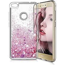 Funda Huawei P8 Lite 2017,LK [Ultrafina] Brillante bling Glitter Heart Lindo diseño creativo de lujo Sparkly Crystal Liquid Quicksand TPU Funda protectora a prueba de golpes de silicona para Scratch para Huawei P8 Lite 2017 - Oro rosa