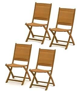 4x Belardo Hartholz Rattan Garten Holz Stuhl Gartenstuhl Klappstuhl Möbel Set - ähnlich wie Teak