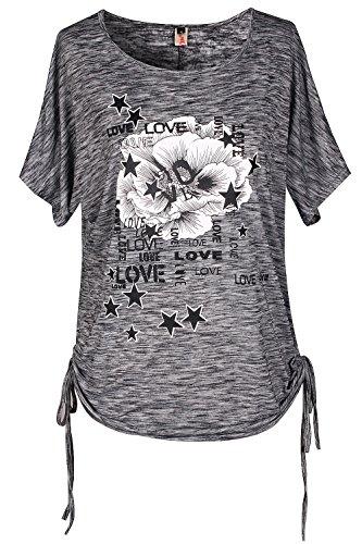 Wieder Frauen T-shirt (ELFIN Damen Sommer T-Shirt Kurzarm Rundhals Druck Muster Oberteile Loose Fit Bluse Tops (ZD4FKZHP))