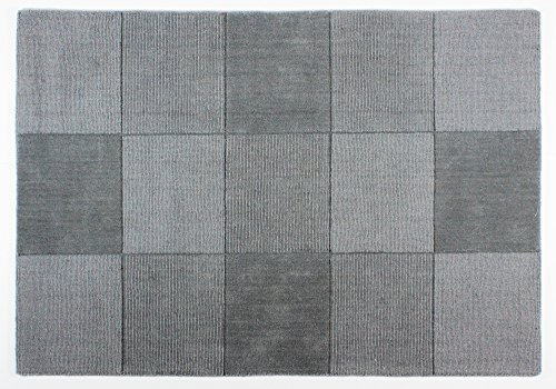 Wool Squares - Wollteppich mit Quadratmuster - Grau 150x210