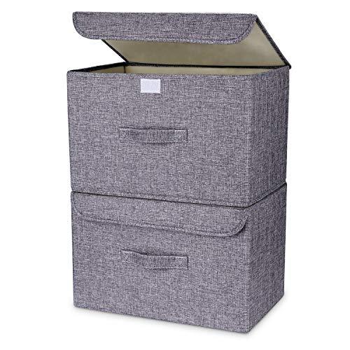 OJ Lot de 2 boites de Rangement,Rangement de Vetement, Pliables en Tissu de Lin avec couvercles et poignées pour Maison, Bureau, crèche, Placard, Chambre à Coucher (Gris)