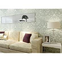 ufengke Gama Alta Romántico No Tejido Bronceadores Flocado Patrón de Flores 3D Papel Pintado Mural Para La Sala de Estar Dormitorio Matrimonio