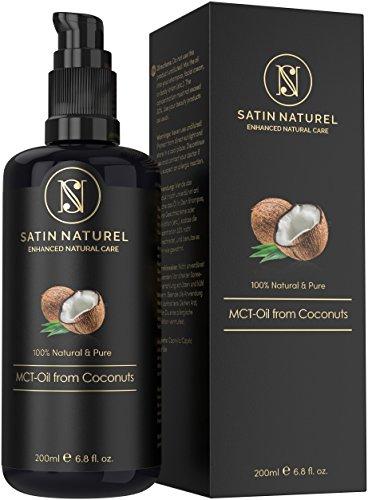 MCT-Öl aus Kokosnüssen 200ml von Satin Naturel/Kokosöl fraktioniert/IMMER FLÜSSIG/höchste Qualität in Lichtschutz Glasflasche - Öl Serum Feuchtigkeitspflege für schöne Haut, Haare & Nägel