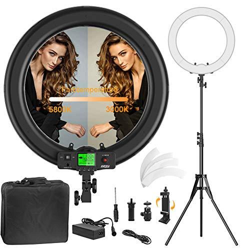 Ringlicht,verbesserte Version 19 Zoll LED äußere einstellbare Farbtemperatur 3000-5800K mit Standfuß,dimmbares Video-LED-Licht Kit für YouTube-Makeup,Telefonadapter,Videoaufnahmen,Porträt,Vlog,Selfie - Kamera Für Videoaufnahmen