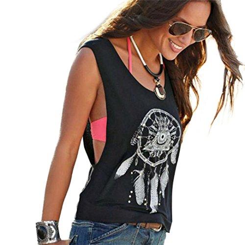 BHYDRY Sexy Frauen Dreamcatcher Printed Ärmellose Tops Crop Tank Weste Shirt Tee(L,Schwarz)
