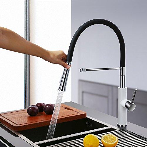 Homelody – Küchenarmatur mit hohem Auslauf, 360° drehbar, herausziehbar, Weiß-Chrom - 3