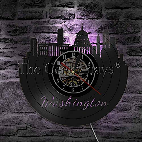 Njuxcnhg Vinyl Record Wall Clock-1 Stück Washington DC Silhouette Wandleuchte US Tourismus Kinderzimmer Lampe Kapitol Gebäude 3D Deco LED Wandleuchte