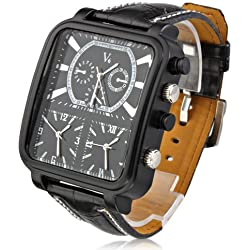 Fashion V6 Black Tone Watch Triple Cores time Zones Black Leather Pilot Dial Men Boys Sport Wrist Watch