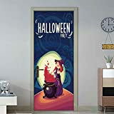 Spielzeug -Artistic9 Halloween Tür Aufkleber Wicked Pumpkin Happy Halloween Tür Tapeten Wandbilder Wandaufkleber Selbstklebende Vinyl Abnehmbare Kunst Tür DIY Home Poster Dekorationen