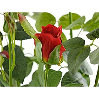 aniba Design aniba Kunstrose mit 3 Blüten und 3 Knospen rot ABROS006