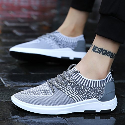 Hommes Casual Hommes Sneakers Casual Chaussures Fly Weave respirant Chaussures de course printemps ( Color : Black-44 ) Gray-40