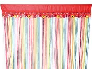 Style hippie goobay rideau à fils rideau voilage rideau tamisant séparateur d'arc en ciel multicolore
