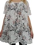 15 verschiedene Farben Damen Blusen Shirt mit Blumenmuster Gr. 46 48 50 52 (Weiß)