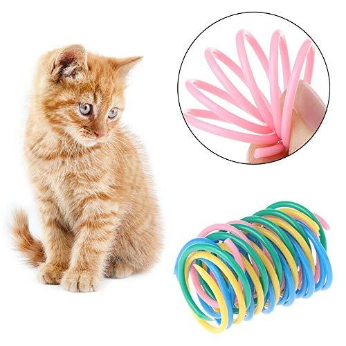 Urijk Katzenspielzeug Spot Springfeder Kunststoff Bunt Interaktives Spielzeug Springen Kratzspielzeug für Katze Haustier 4.5 x 2.5 cm 10 Stück -