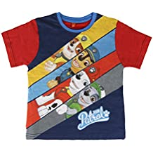 Camiseta Paw Patrol-Patrulla Canina- para niños manga corta 100% algodón color Rojo