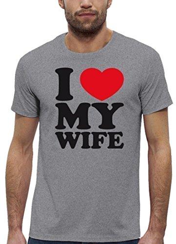 Valentinstag Premium Herren T-Shirt aus Bio Baumwolle I LOVE MY WIFE Stanley Stella Heather Grey