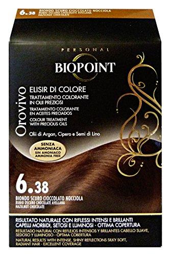 Biopoint Linea Orovivo, Tinta Per Capelli (Colore 6.38, Biondo Scuro Cioccolato Nocciola) - 30 ml.