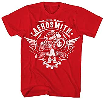 Aerosmith - Mens Livin' On The Edge T-Shirt in Red, Large, Red