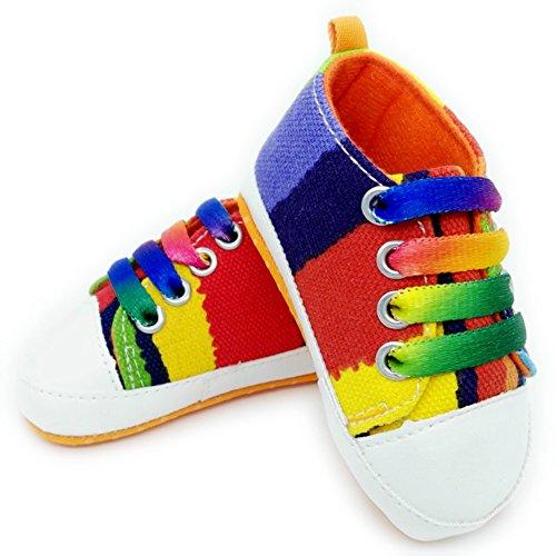 Leap Frog  Stripe Sneakers, Baby Mädchen Lauflernschuhe Regenbogenfarben