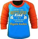 Baby/Kinder Baseball Langarm T-Shirt (Farbe: Atoll-orange) (Gr. 98/104) Ich Bin Das mittlere Kind