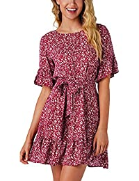 Hffan Damen Elegant Blumenmuster Bedruckt Hohe Taille High Waist Mode  A-Linie Kleid Kurzes Kleider Sexy Modisch Minikleid Frauen… 29e9e0f0dc