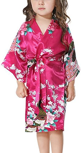 Yiarton Peignoir Enfant Motif Exotique Paon Fleur Kimono Soie Cardigan Robe de Chambre Fille Satin Rouge Rose