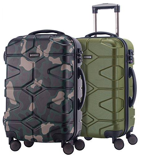 HAUPTSTADTKOFFER - X-Kölln - 2er Koffer-Set Handgepäck Trolley-Set Rollkoffer Reisekoffer, TSA, (S & S), Camouflage & Olivgrün matt