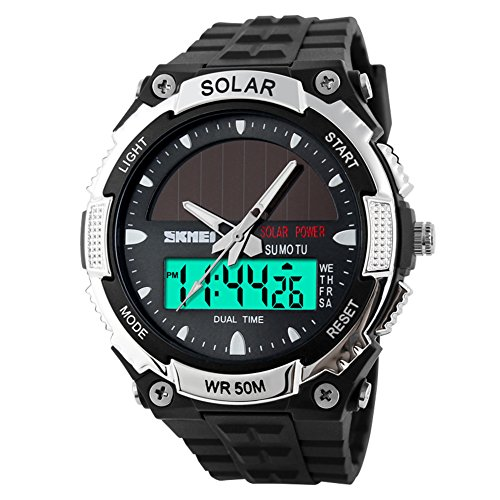Männermode solar-Uhren/Wasserdichte elektronische Zweikanalüberwachung/Outdoor Sport Uhr Schüler Herrenuhr-A