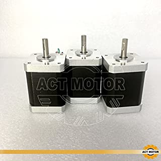 ACT MOTOR GmbH 3PCS 17HS6416D6L22P5.5-12 Nema17 D-Shaft φ6mm Stepper Motor Bipolar 60mm Body 70Ncm Torque 4Wire 300mm Cable 1.6A with 1.8° 3.52V for Robot CNC RepRap