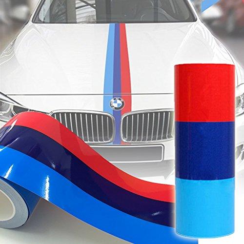 2M Auto Streifen M-Colored Flagge Aufkleber Motorhaube Deko für BMW (Motorhaube Streifen)