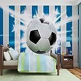 Tapeto Fototapete - Fußball Blau Weiss Streifen - Vlies 312 x 219 cm (Breite x Höhe) - Wandbild Muster Fussball Jungs