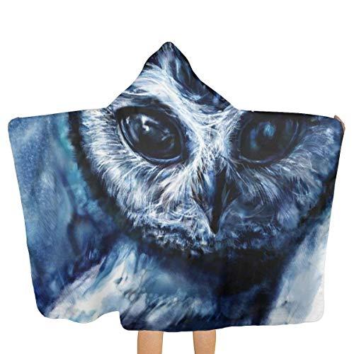 ücher für Kinder Art Night Owl Head Hooded BeachTowel Soft Microfiber Quick Fast Dry Poncho Towel for Travel/Bath/Pool/Swimming/Yoga/Gym 31.8x51.5 inch ()