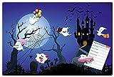 Blechschild Halloween, Geschenk Geburtstag Kinder Jungen Mädchen Dekoschild Wandschild Metallschild inkl. Magnete, Blau, 40x60 cm