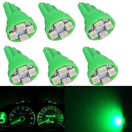WLJH 6 pcs Vert 168 W5 W T10 4-smd Tableau de bord lumières LED Ampoule Gauge Cluster Tableau de bord Indicateur lampe ampoules