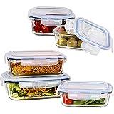 Vhari 5 juego de vasos Contenedores para Alimentos * hermético a prueba de fugas y * Horno, microondas , congelador y lavavajillas seguro de 10 piezas * ( 5 + 5 Envases libre de BPA tapas ) * Con 2 años de garantía