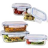 Vhari Lot de 5 boîtes verre Conteneurs de stockage alimentaire - Hermétique et anti-fuite - Compatible avec lave-vaisselle, four, congélateur, réfrigérateur et micro-ondes (sans couvercle) BPA Free