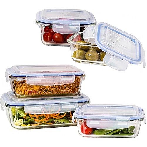 Vhari contenitori di magazzinaggio alimentare di vetro con coperchio (set di 5 pezzi) contenitori di controllo della porzione di preparazione del pasto