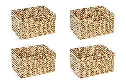 Ikea Billy Regal Korb 37 x 25 x 20 cm aus Wasserhyazinthe Natur Faltkorb Flechtkorb Regalbox Storage Box Aufbewahrungskorb Schrankkorb klappbar faltbar und sehr stabil 4er-Set Sparpreis