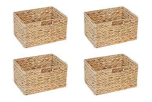 Ikea Billy Regal Korb 37 x 25 x 20 cm aus Wasserhyazinthe Natur Faltkorb Flechtkorb Regalbox Storage Box Aufbewahrungskorb Schrankkorb klappbar faltbar und sehr stabil 4er-Set Sparpreis - Regal Körbe