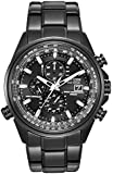 Citizen Watch World Chronograph A.T. Men's Quartz Watch with Black Dial Analogue Display and Black Stainless Steel Plated Bracelet AT8025-51E