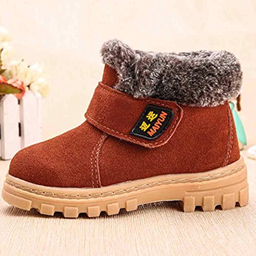 Kinderschuhe Longra Winter Baby Mädchen Jungen Mode Schneestiefel Winter Baby Kinder Stil Baumwolle warme Stiefel (1-6 Jahre) Brown