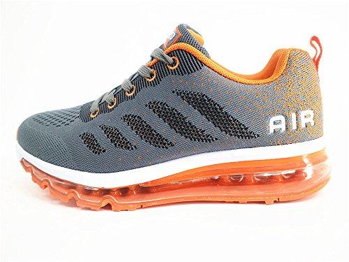 BETY Herren Damen Sportschuhe Laufschuhe mit Luftpolster Turnschuhe Profilsohle Sneakers Leichte Schuhe Gray Orange 45
