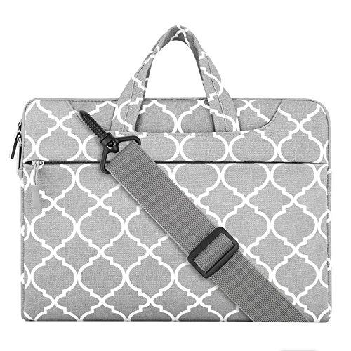 MOSISO Notebooktasche Kompatibel 11-11,6 Zoll MacBook Air, Ultrabook Netbook Tablet Canvas Geometrisches Muster Laptoptasche Sleeve Hülle Umhängetasche mit Griff und Schulterriemen, Grau Quatrefoil