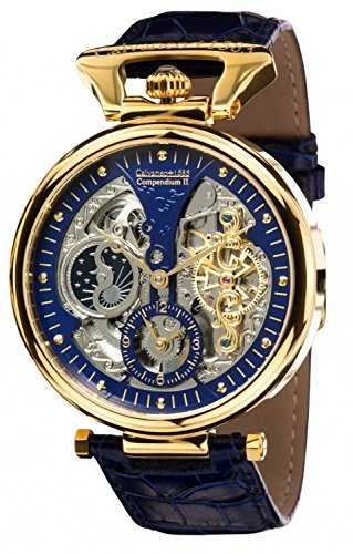 Calvaneo Gold Blue Compendium 1583 Men's Quartz Watch with Analogue Display and Blue Leather 107925