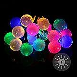 Nexos 20 LED Solar Lichterkette bunt mit Bällen Kugeln 2,2 cm mit Luftblasen Bubbles Blinkfunktion Gartenbeleuchtung Party Lichterkette für Außen Solarpanel Länge 2,95 m